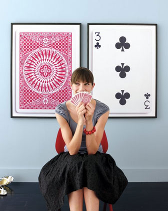 Playing card posters as wall art
