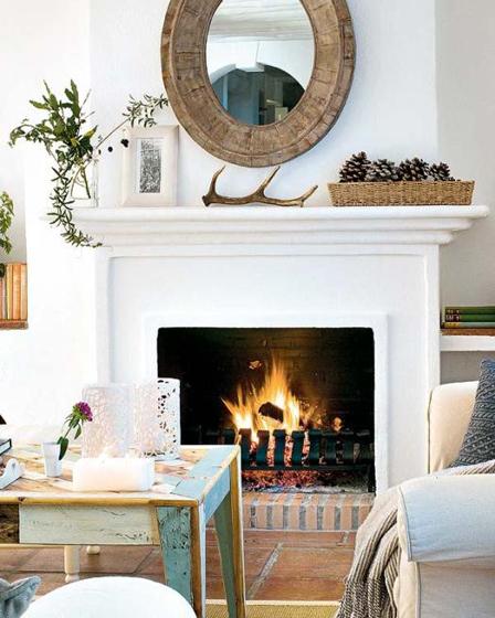 Beautiful simple rustic mantel