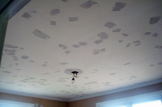 Ceiling after scraping the popcorn
