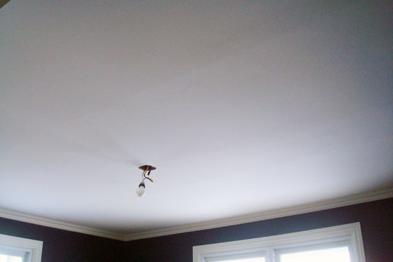 Finished ceiling after scraping the popcorn