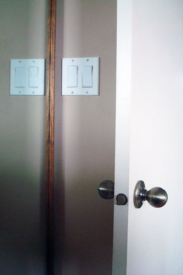 Light switches behind the door