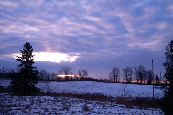 Winter sunrise over the farm