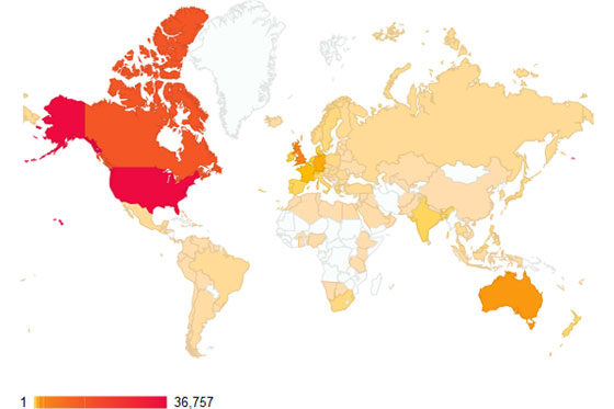 Top blog views by country