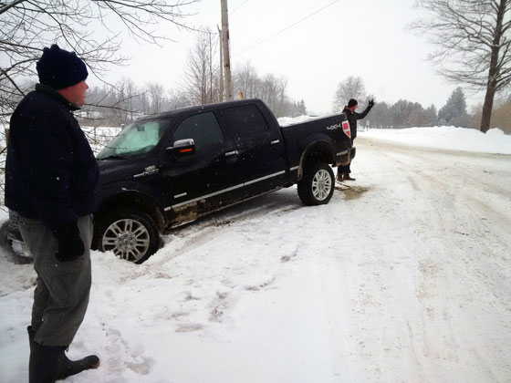 Pick up truck stuck in the ditch