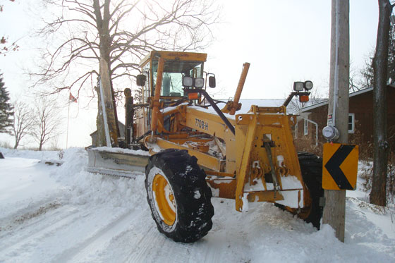 Grader stuck in the snow