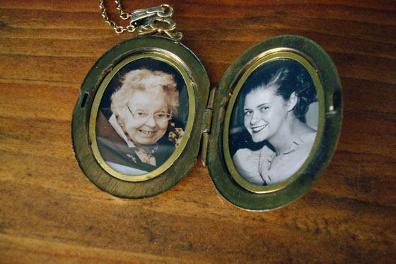 Photos of my grandmother inside her locket