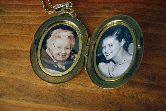 Photos of my grandmother inside her locket