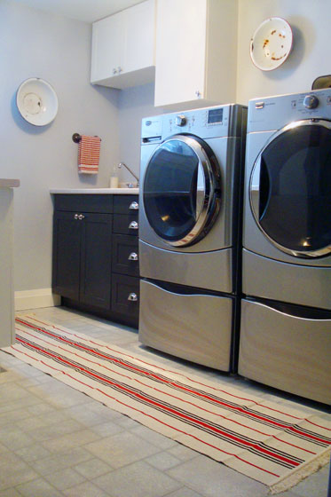 Three Ikea Signe Rugs Made Into A Runner In The Laundry Room