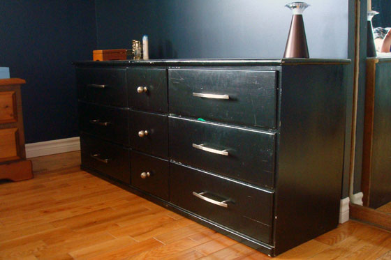 Black dresser before