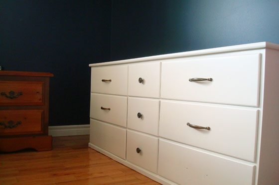White dresser with brass hardware after