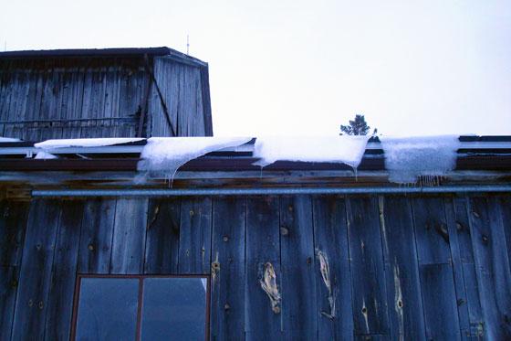 Ice sheets sliding off solar panels