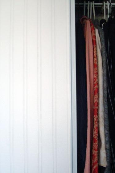 Beadboard wallpaper on a sliding closet door
