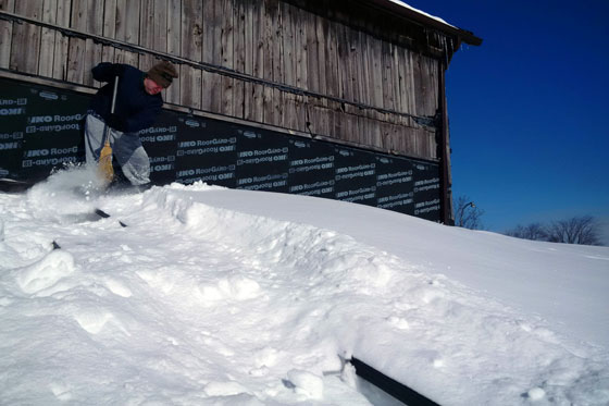 Clearing snow off solar panels