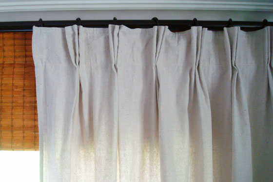 Pinch pleat dropcloth curtains