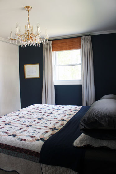 Navy and white master bedroom