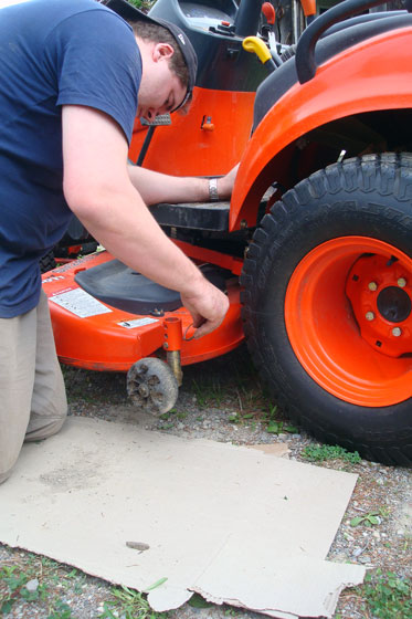 Attaching the mower deck to the tractor