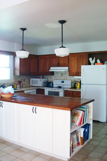 School house pendant lights over the kitchen island