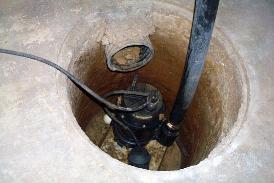 Sump pump pit