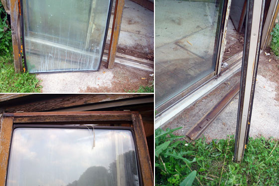 Broken patio door on the sunroom