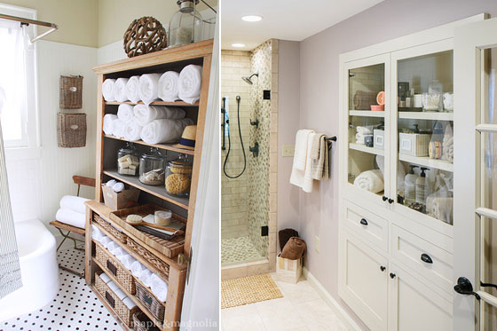Built-in bathroom linen closets