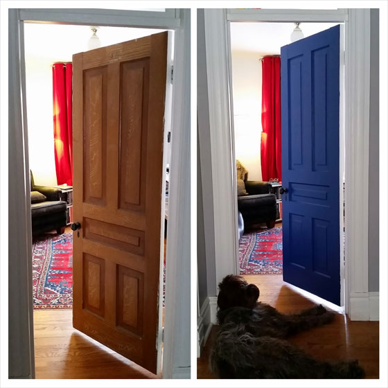 Interior door painted blue