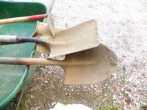 Garden tools before cleaning and sharpening