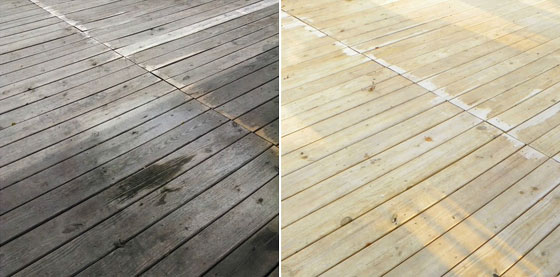 Deck before and after cleaning