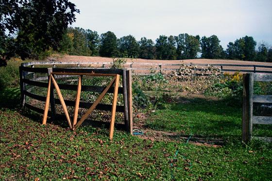 Unhung garden gate