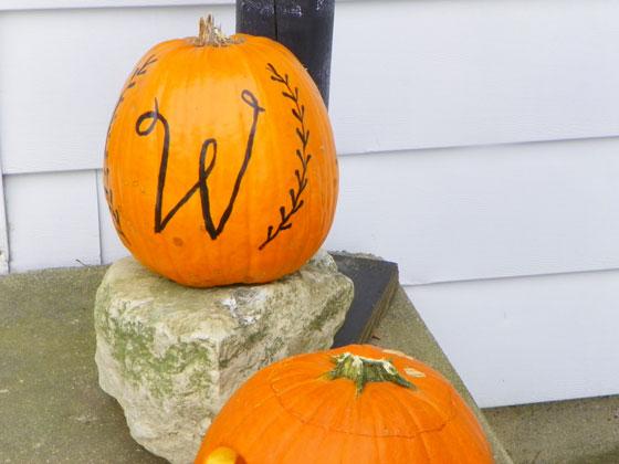 W painted pumpkin