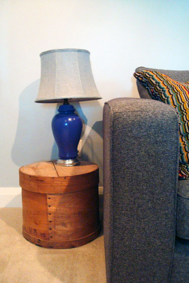 Purple lamp with flared grey shade
