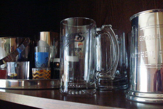 Steins and shot glasses