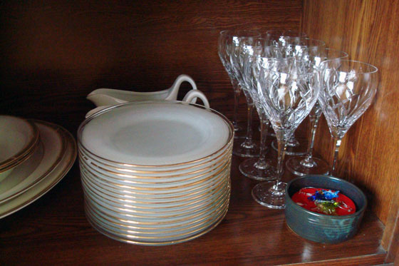 Wine glasses and plates