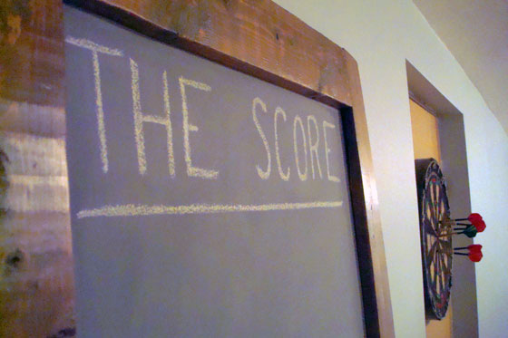 Tall chalkboard for score-keeping