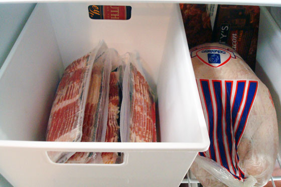 Bacon in the freezer storage bin