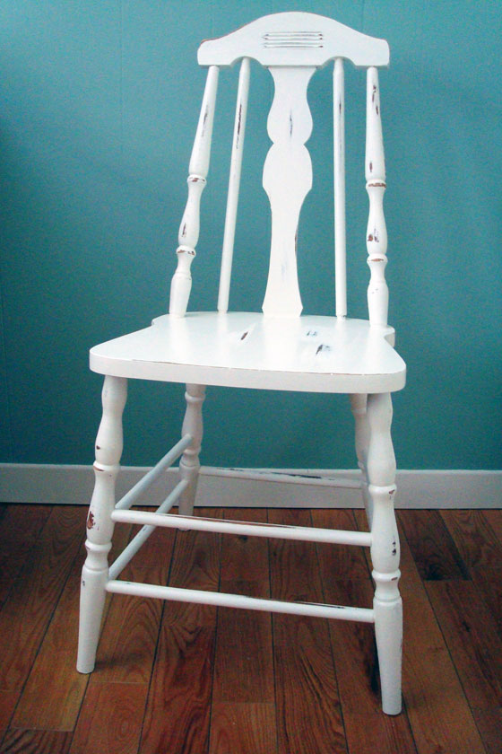 Distressed painted wood chair