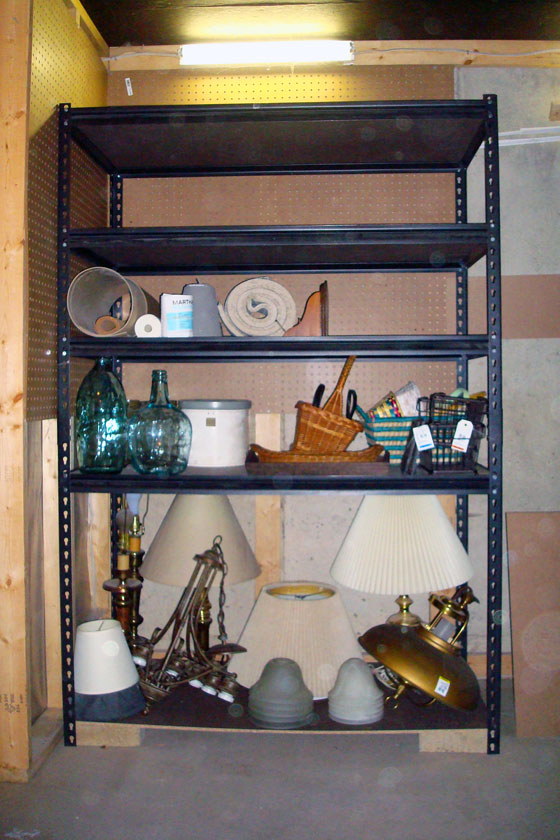 Home decor storage in the cold cellar