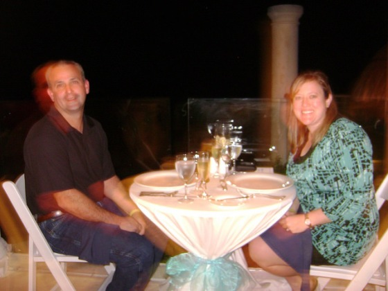 Honeymoon dinner on the beach