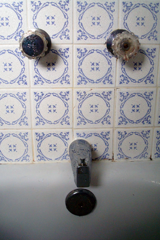 Old taps in the tub