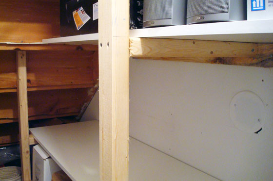 Building shelves in the closet under the stairs
