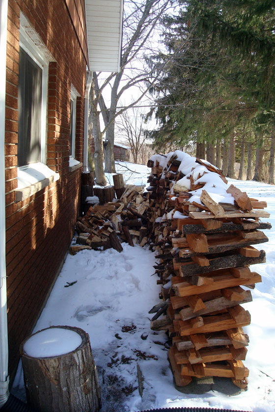 Collapsed woodpile