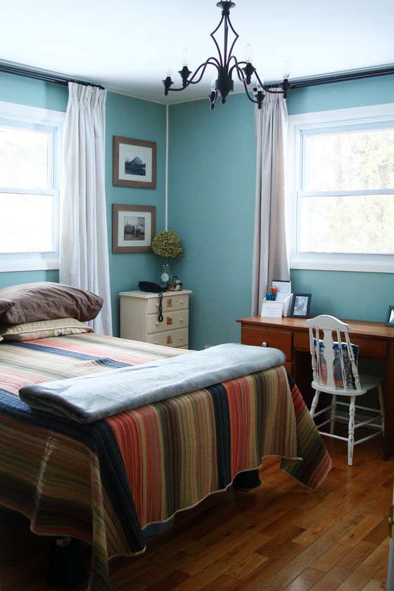 Robin's egg blue country guest room