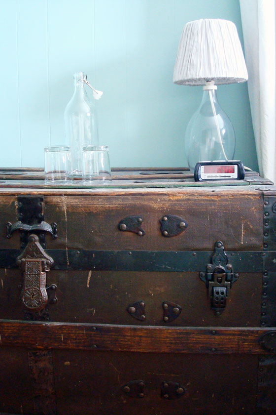Vintage trunk as a nightstand