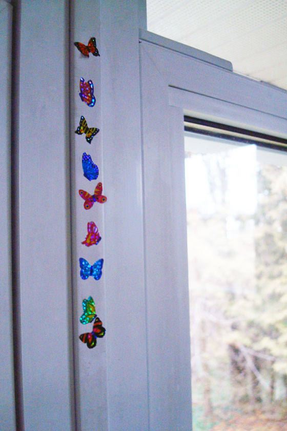 Stickers on the window in the guest room