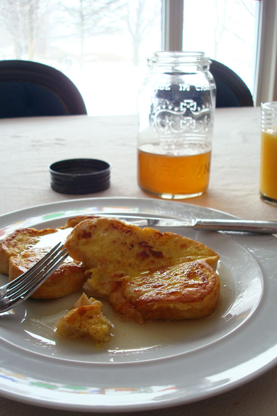 Homemade maple syrup on French toast