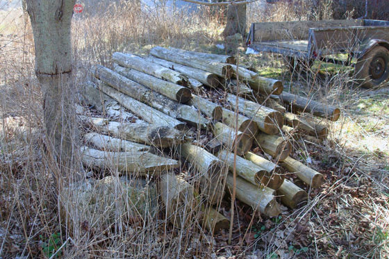 Pile of old wood fenceposts