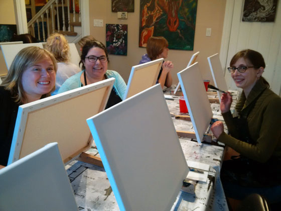 Girls night at painting class