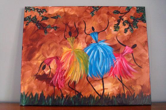 Painting of four ladies dancing