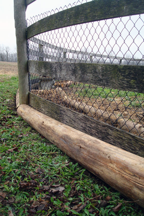 "Wood ""curbs"" to edge a vegetable garden"