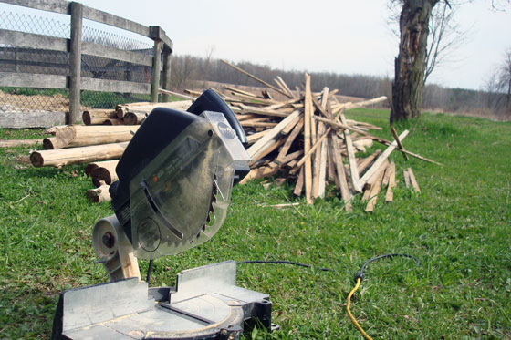 Cutting garden stakes with a mitre saw