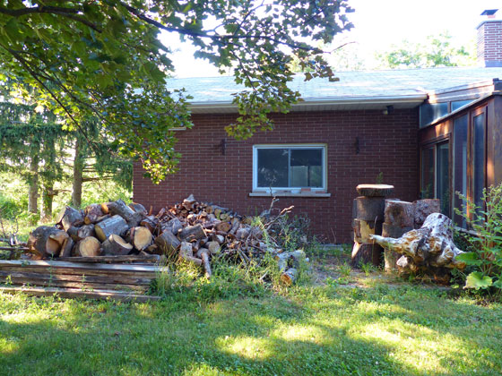 Unsplit firewood on the side patio